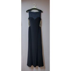 Simple Elegant Navy Blue Caché Floor Length Dress
